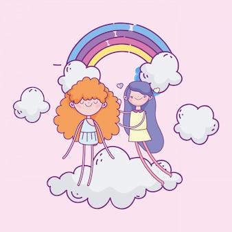 幸せなバレンタインデー、かわいい女の子、クラウド虹装飾のキューピッド Premiumベクター