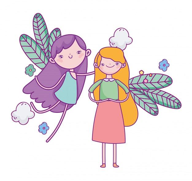 幸せなバレンタインデー、かわいい女の子、空飛ぶキューピッドの葉の花
