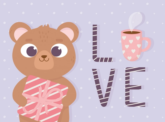 Happy valentines day cute little bear with gift box love