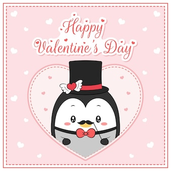 Happy valentines day cute penguin boy drawing post card big heart