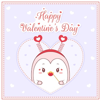 Happy valentines day cute penguin girl drawing post card big heart