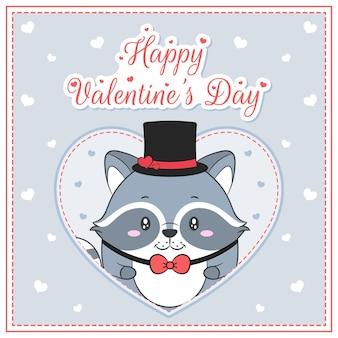 幸せなバレンタインデーかわいいアライグマの男の子がポストカードの大きな心を描く