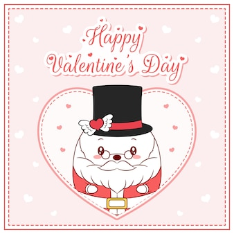 Happy valentines day cute santa claus drawing post card big heart