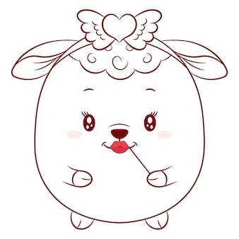 幸せなバレンタインデーの着色のためのかわいい羊の描画スケッチ