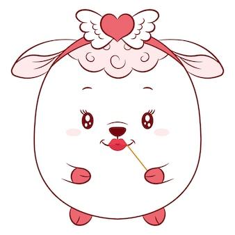 幸せなバレンタインデーかわいい羊の絵