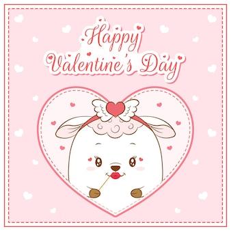 幸せなバレンタインデーかわいい羊の女の子がポストカードの大きな心を描く