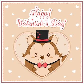 幸せなバレンタインデーかわいいリスの男の子がポストカードの大きな心を描く