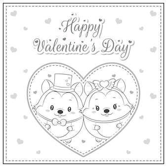 Happy valentines day cute squirrel drawing in big heart sketch for coloring