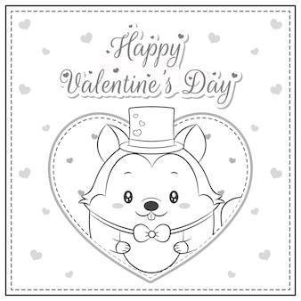 幸せなバレンタインデーかわいいリスは、着色のための大きなハートのスケッチで描く