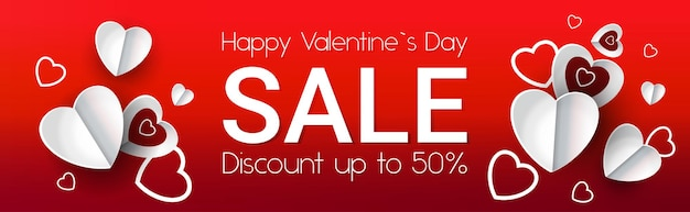 Happy valentines day discount special holiday sale concept banner flyer or greeting card horizontal