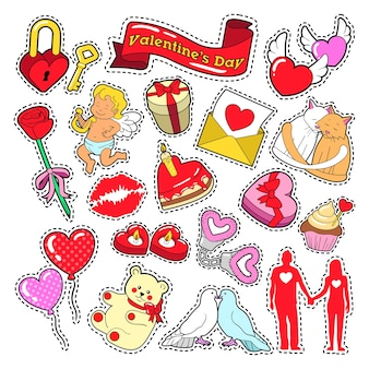 Happy valentines day doodle for scrapbook, stickers, patches, badges.