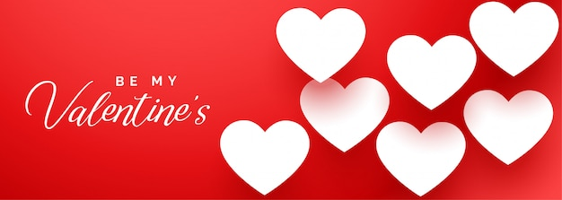 Happy valentines day elegant red banner with white hearts