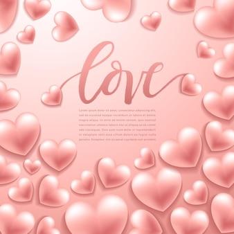 幸せなバレンタインデーの要素、背景にリアルなバレンタインハート