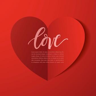 幸せなバレンタインデーの要素、赤い背景の上の現実的なバレンタインペーパーハート