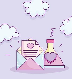 Happy valentines day, envelope letter love potion bottle cartoon vector illustration