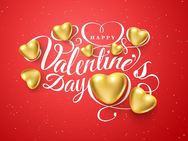 幸せなバレンタインデー。赤い背景で隔離のフォント構成黄金のリアルな心。ベクトル美しい休日のロマンチックなイラスト。