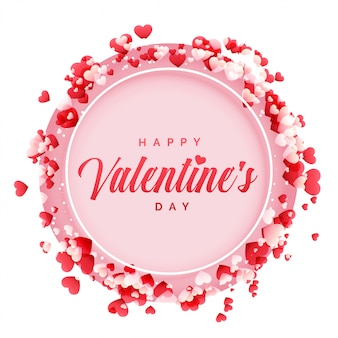 Happy valentines day frame with hearts background