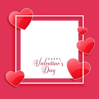 Happy valentines day frame with shiny hearts and text space