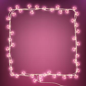 Счастливая карта лампы гирлянды дня святого валентина.