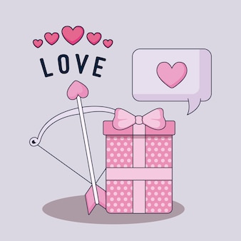 Happy valentines day gift box and bow arch