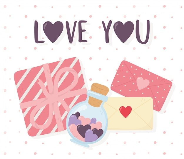 Happy valentines day, gift box messages and hearts in a glass mason jar