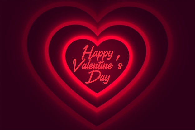 Happy valentines day glowing red heart background