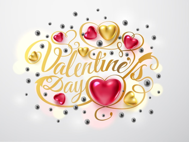 Happy valentines day. gold font composition with arrow, red and gold hearts, silver beads isolated on background. vector holiday romantic illustration.