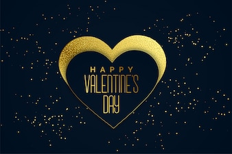 Happy valentines day golden hearts background