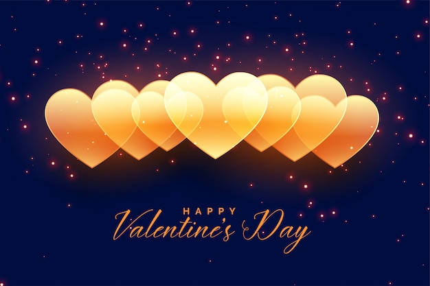 Happy valentines day golden hearts  design