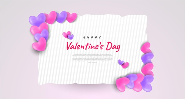 Happy valentines day greeting background hearts illustration