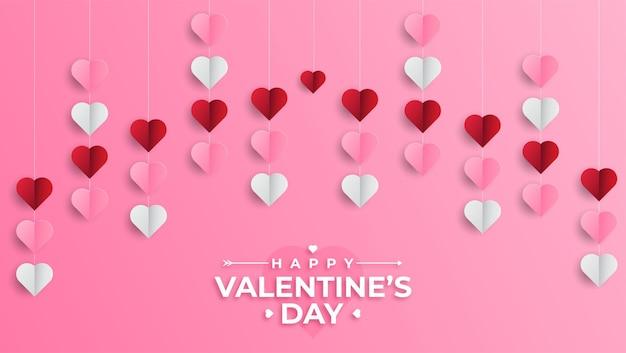 ペーパーカットの現実的なスタイルで幸せなバレンタインデーの挨拶バナー