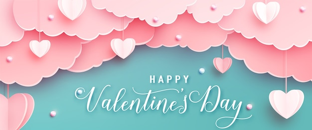 Happy valentines day greeting banner in papercut realistic style. paper hearts, clouds and pearls on string. calligraphy text
