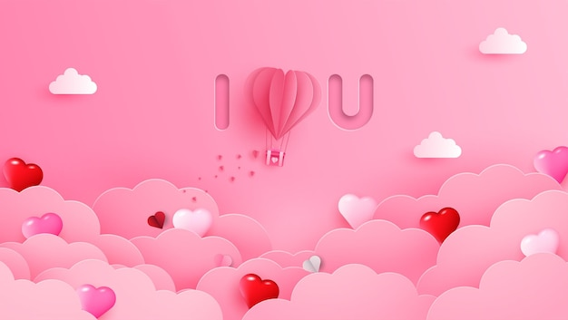 Happy valentines day greeting banner in papercut realistic style. paper hearts, clouds and pearls on string.