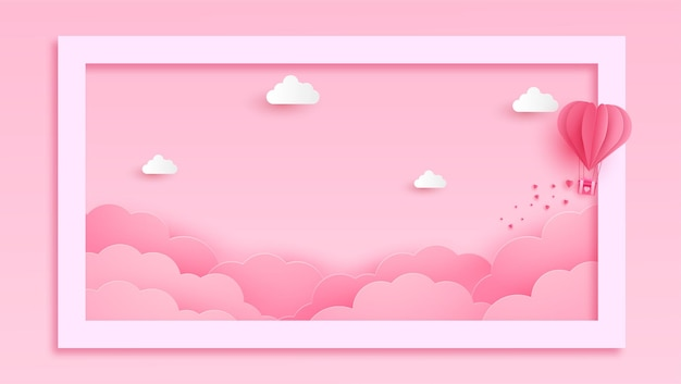 Happy valentines day greeting banner in papercut realistic style. paper hearts and clouds