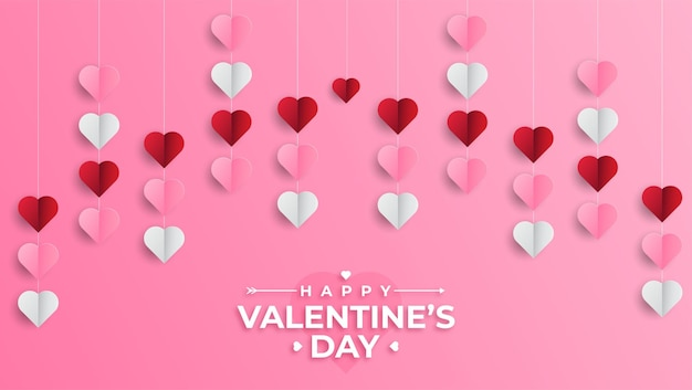 Happy valentines day greeting banner in papercut realistic style