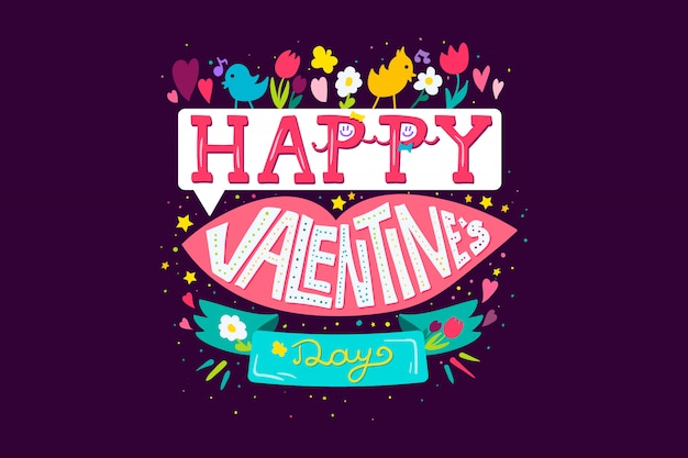 Happy valentines day greeting banner with pink lips