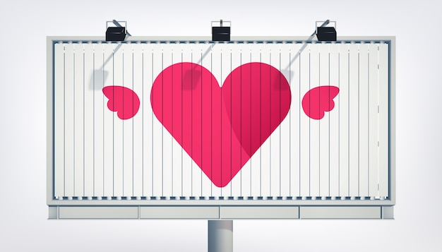 Happy valentines day greeting billboard with elegant pink heart and flowers vector illustration