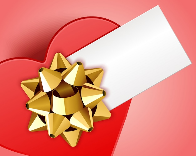 Happy valentines day greeting card design and red gift box as heart with place for wish design
