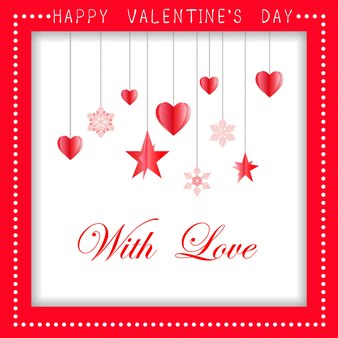 Happy valentines day greeting card design with paper cut red heart shape, vector illustration