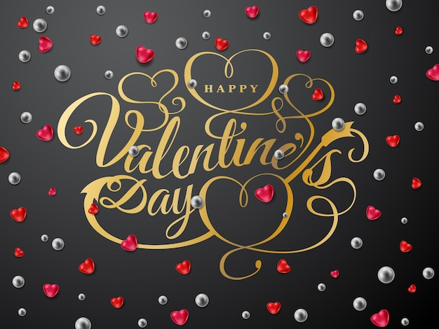 Happy valentines day greeting card. gold font composition with arrow, red hearts, silver beads isolated on background. vector holiday romantic illustration.