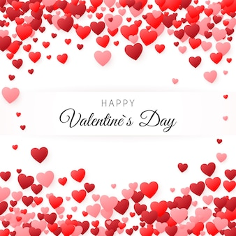 Happy valentines day greeting card. greeting card cover template. background filled with hearts with place for inscription. illustration