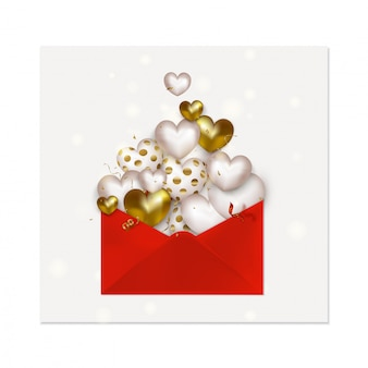 Happy valentines day greeting card. love letter icon with cute golden 3d hearts, flying confetti, serpentine.  .