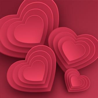 Счастливая поздравительная открытка дня святого валентина. бумажное искусство, любовь и свадьба. красные бумажные сердечки в стиле оригами.