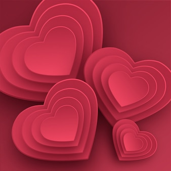 Happy valentines day greeting card. paper art, love and wedding. red paper hearts in style of origami.