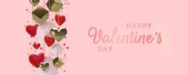 Счастливая поздравительная открытка дня святого валентина. реалистичные 3d сердца на красном фоне. любовь и свадьба.