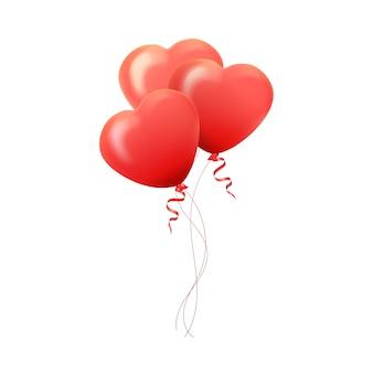 幸せなバレンタインデーのグリーティングカード、ハートの形の赤とピンクの風船