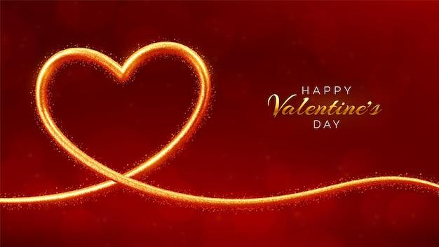 해피 발렌타인 데이 인사말 카드입니다. 빛나는 하트 모양