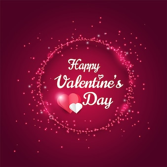 Happy valentines day greeting card, shiny glitter light effect