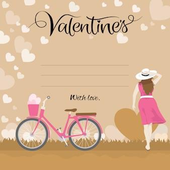 여자와 자전거와 함께 해피 발렌타인 데이 인사말 카드 타이포그래피 텍스트