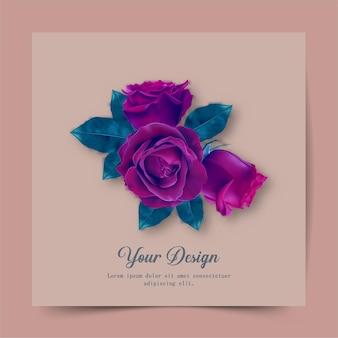 행복한 발렌타인 데이. 빨간 장미의 현실과 빈티지 인사말 카드